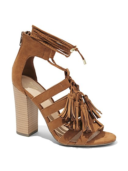 Tassel-Trim Strappy Sandal  - New York & Company