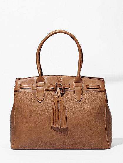 Tassel-Trim Structured Tote Bag   - New York & Company