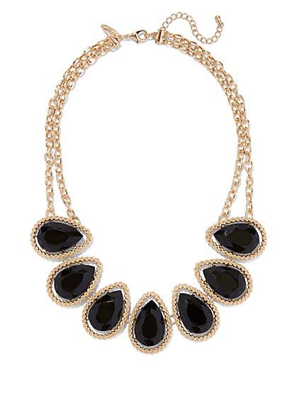 Teardrop Faux-Stone Bib Necklace  - New York & Company