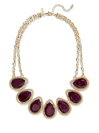 Teardrop Faux-Stone Bib Necklace  - New York & Company