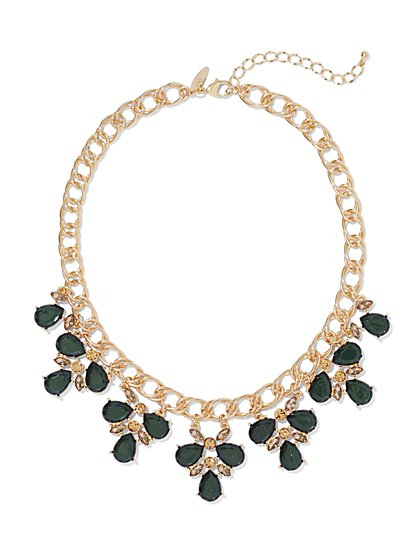 Teardrop Faux-Stone Chain-Link Necklace  - New York & Company