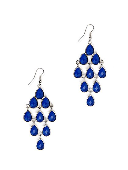 Teardrop Faux-Stone Chandelier Earring  - New York & Company