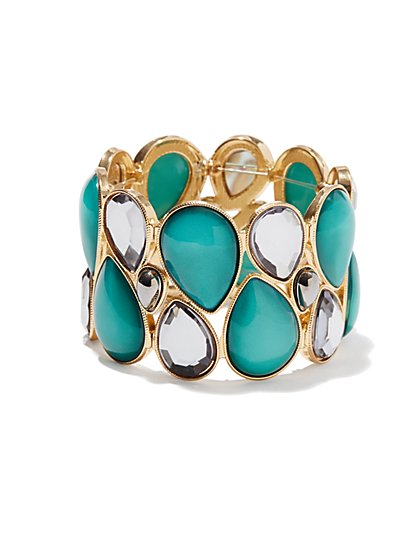 Teardrop Faux Stone Stretch Bracelet  - New York & Company