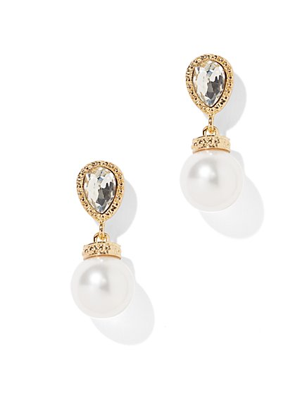 Teardrop Post Faux-Pearl Drop Earring - New York & Company