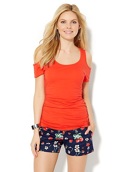 Tee Luxe - Cold-Shoulder T-Shirt  - New York & Company