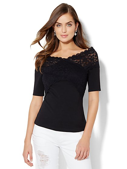 Tee Luxe - Lace-Trim Off-The-Shoulder Top - New York & Company