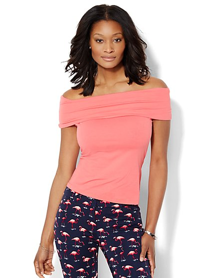 Tee Luxe - Off-the-Shoulder T-Shirt - New York & Company