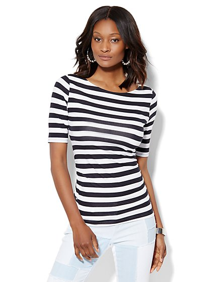 Tee Luxe - Shirred Bateau-Neck Top - Stripe  - New York & Company