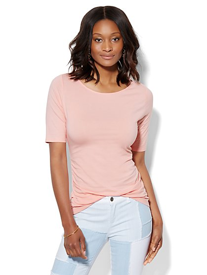 Tee Luxe - Shirred Bateau-Neck Top  - New York & Company
