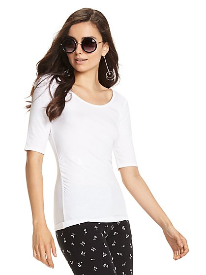 Tee Luxe - Shirred Scoopneck T-Shirt - New York & Company