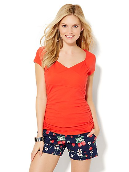 Tee Luxe - Shirred T-Shirt  - New York & Company
