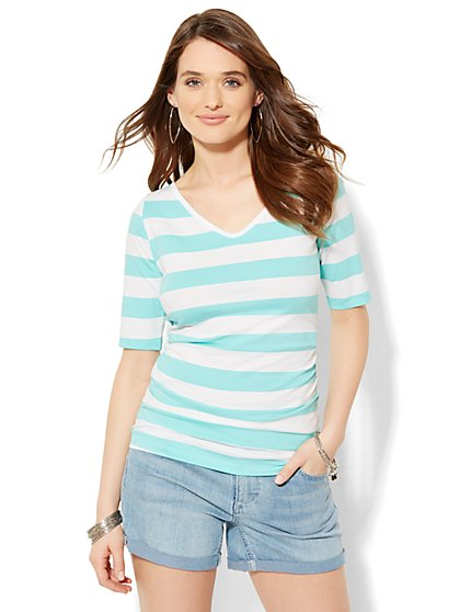 Tee Luxe - Shirred V-Neck Tee - Stripe - New York & Company