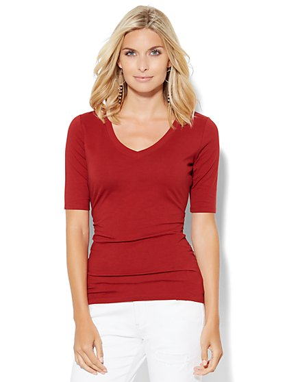 Tee Luxe - Shirred V-Neck Top  - New York & Company