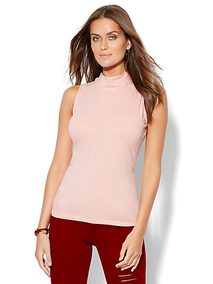 Tee Luxe - Sleeveless Mock-Neck Top  - New York & Company