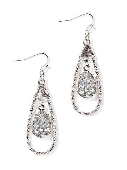 Texture-Frame Teardrop Earrings