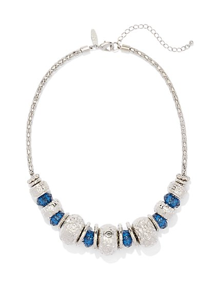 Textured & Beaded Bib Necklace  - New York & Company