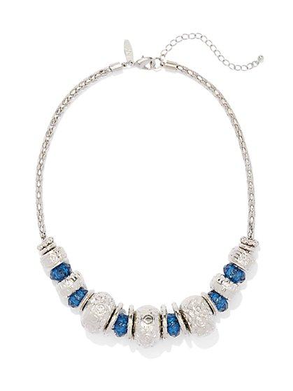 Textured & Beaded Bib Necklace  - New York & Company