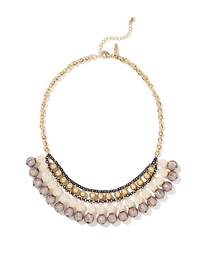 Textured Beads Multi-Chain Necklace  - New York & Company