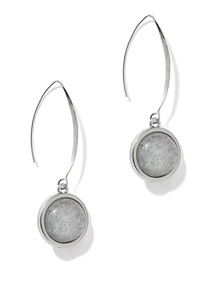 Textured-Cabochon Teardrop Earrings - New York & Company