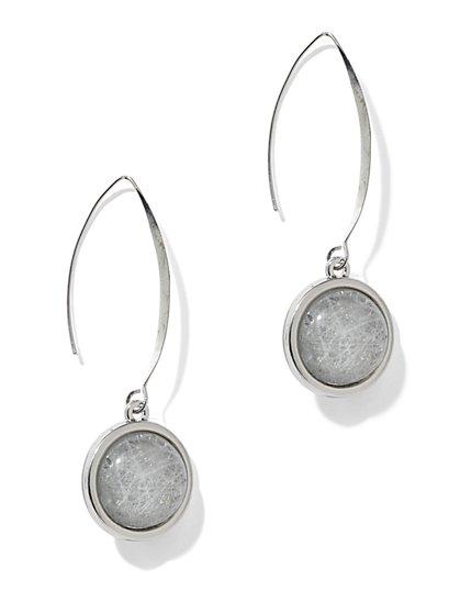 Textured-Cabochon Teardrop Earrings - New York & Company