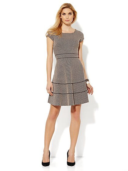 Textured Check Print Fit & Flare Dress
