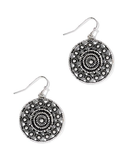 Textured Circle Drop Earring  - New York & Company