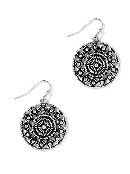 Textured Circle Drop Earring  - New York & Company