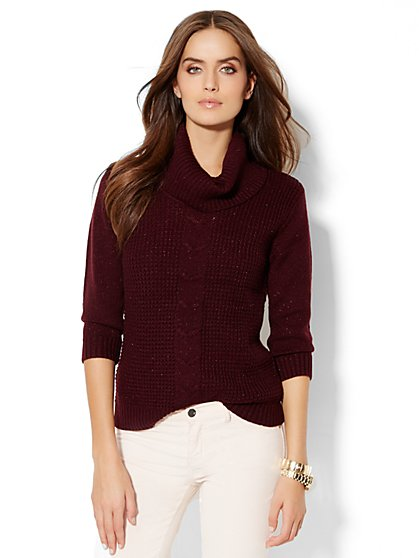 Textured Cowl Neck Sweater  - New York & Company