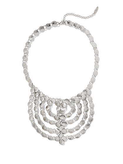 Textured Disc Bib Necklace  - New York & Company
