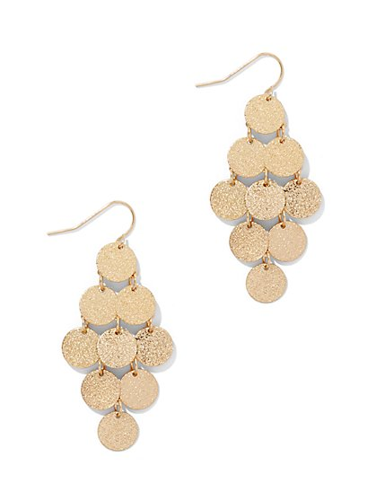 Textured Disc Drop Earring  - New York & Company