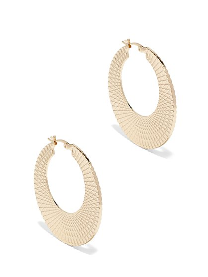 Textured Disc Hoop Earring  - New York & Company