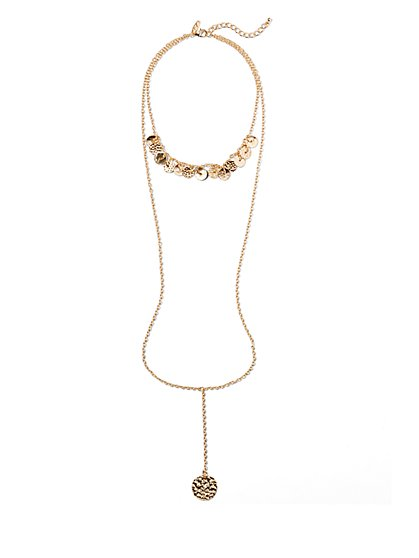 Textured Disc Y Necklace  - New York & Company