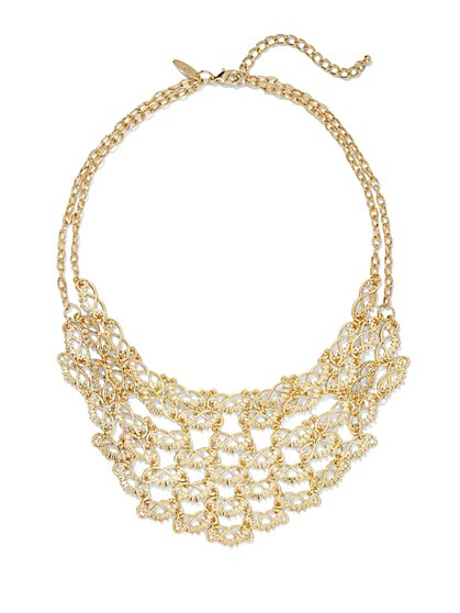 Textured Fan Bib Necklace  - New York & Company