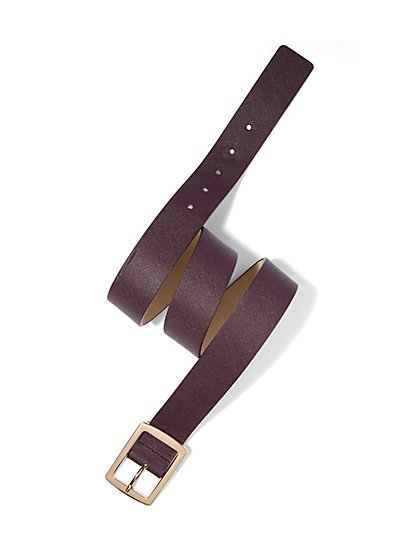 Textured Faux-Leather Belt  - New York & Company