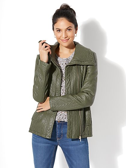 Textured Faux-Leather Jacket - New York & Company