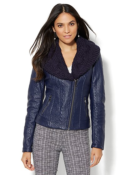 Textured Faux-Leather Moto Jacket - Removable Sweater Knit - New York & Company