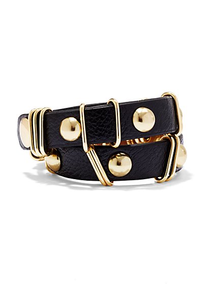 Textured Faux-Leather Snap Bracelet  - New York & Company