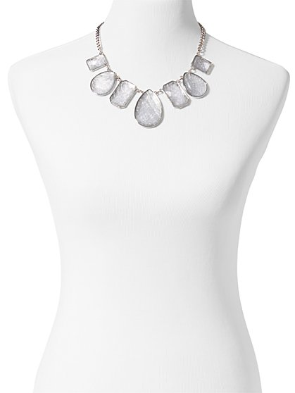 Textured Faux-Stones Collar Necklace