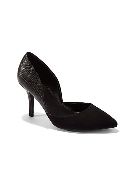 Textured Faux-Suede d'Orsay Pump  - New York & Company