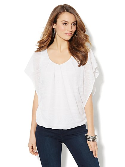 Textured Flutter-Sleeve Top  - New York & Company