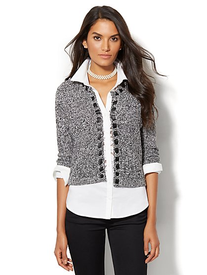 Textured-Knit Cardigan  - New York & Company