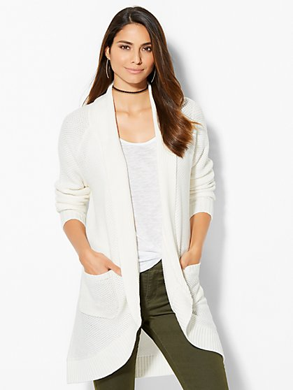 Textured-Knit Cocoon Cardigan  - New York & Company