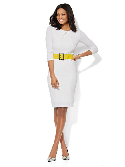 Textured Knit Midi Sheath Dress - Petite  - New York & Company