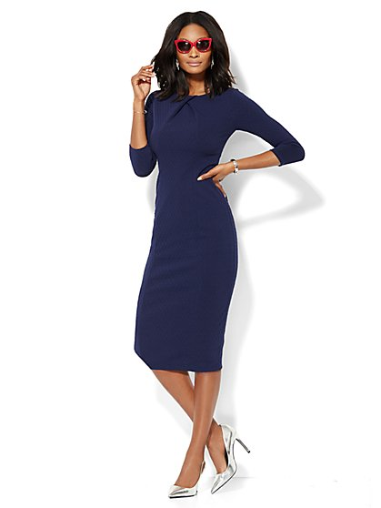 Textured Knit Midi Sheath Dress - New York & Company