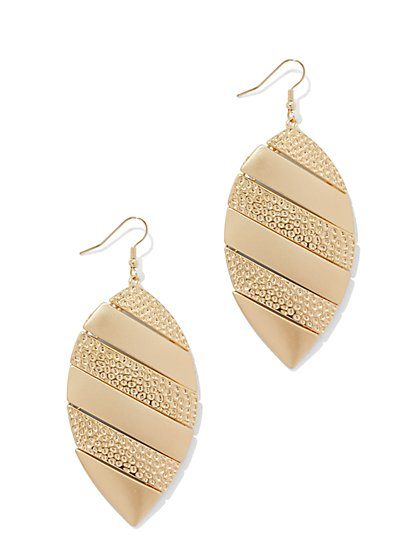 Textured Leaf Drop Earring  - New York & Company
