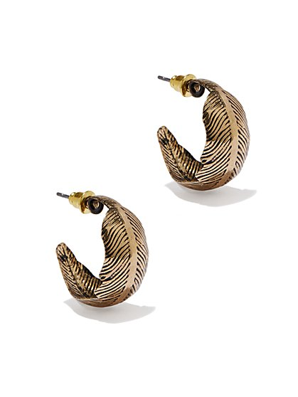 Textured Leaf Earrings - New York & Company