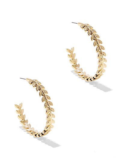 Textured Leaf Hoop Earring  - New York & Company