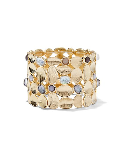 Textured Leaf Stretch Cuff Bracelet  - New York & Company