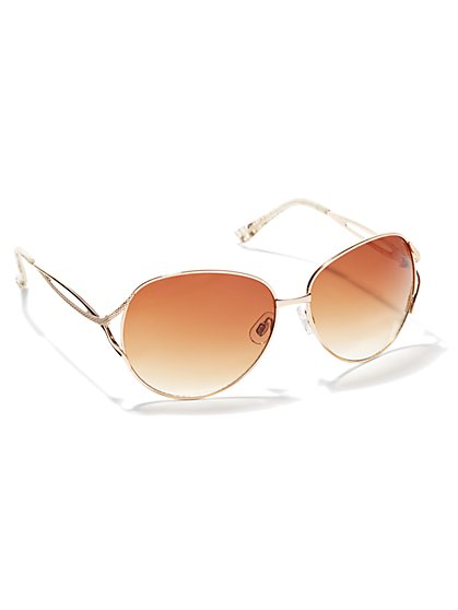 Textured Metallic Sunglasses - New York & Company