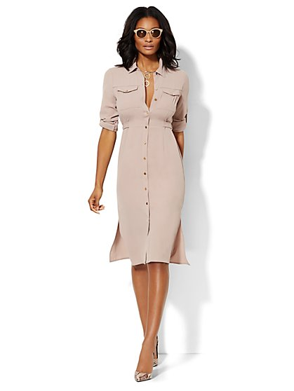Textured Midi Shirtdress  - New York & Company